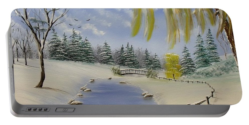 Landscape Winter Park Snow Nature Portable Battery Charger featuring the painting Winter In The Park by Don Bowling