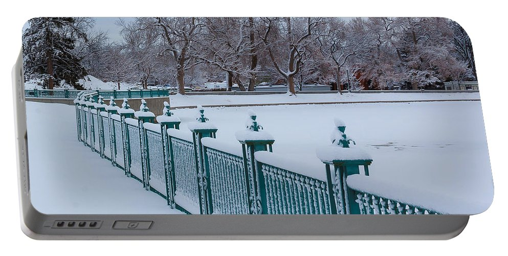Nature Portable Battery Charger featuring the photograph Winter Iron Fence by Steven Reed
