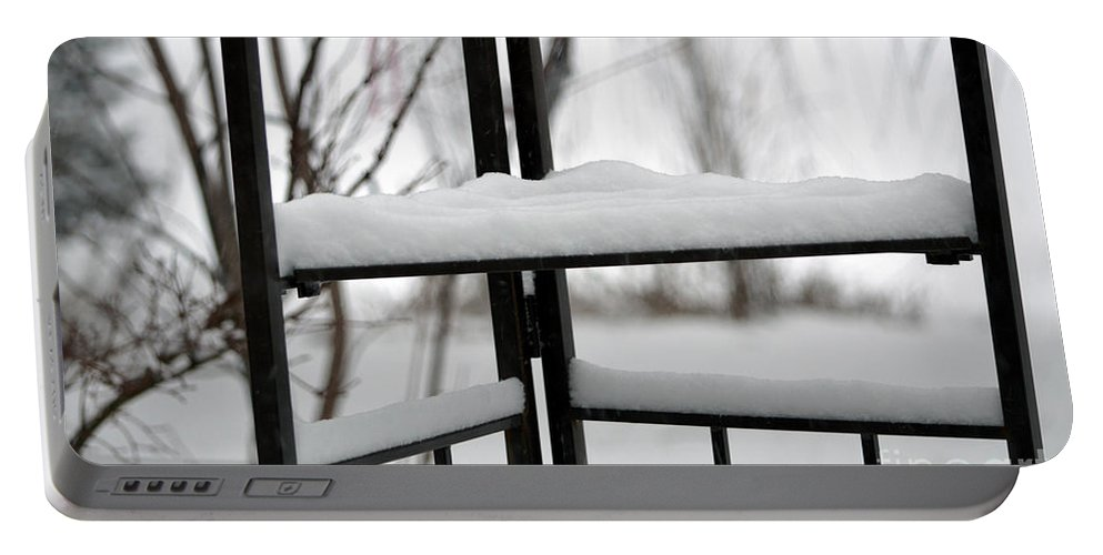Winter Portable Battery Charger featuring the photograph Winter Ironwork by Alys Caviness-Gober