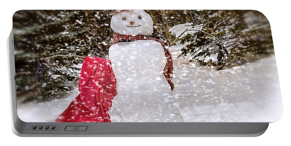 Snowman Portable Battery Charger featuring the photograph Winter Is Here by LeeAnn McLaneGoetz McLaneGoetzStudioLLCcom