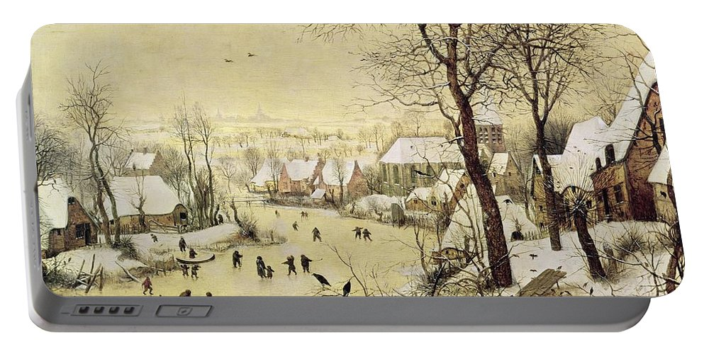 Frozen River Portable Battery Charger featuring the painting Winter Landscape With Skaters And A Bird Trap by Pieter Bruegel the Elder