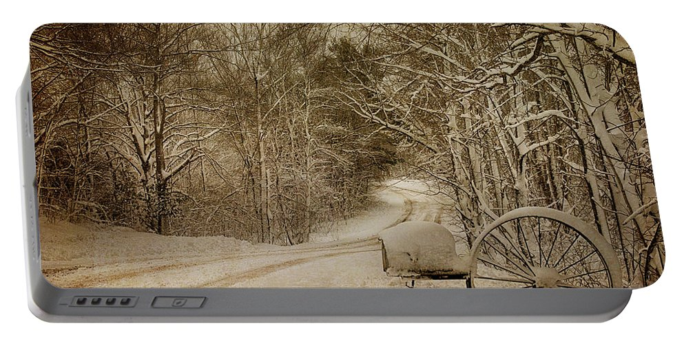 Snowy Country Lane Portable Battery Charger featuring the photograph Winter Lane by Paul Freidlund