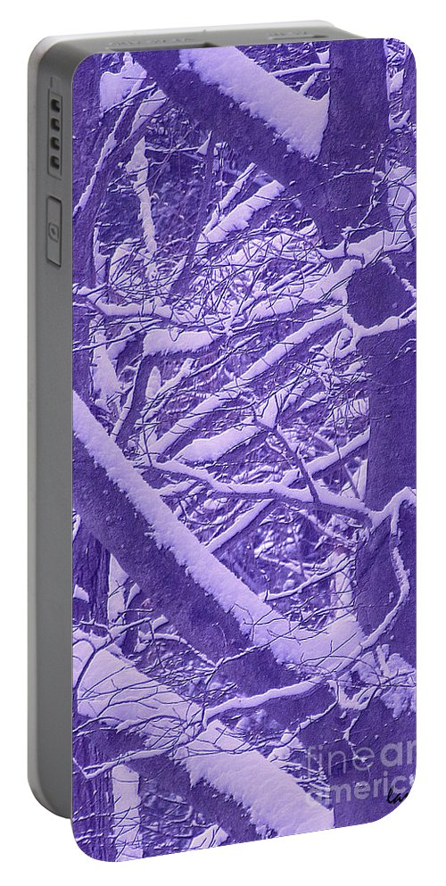 Abstract Portable Battery Charger featuring the painting Winter by Jeelan Clark