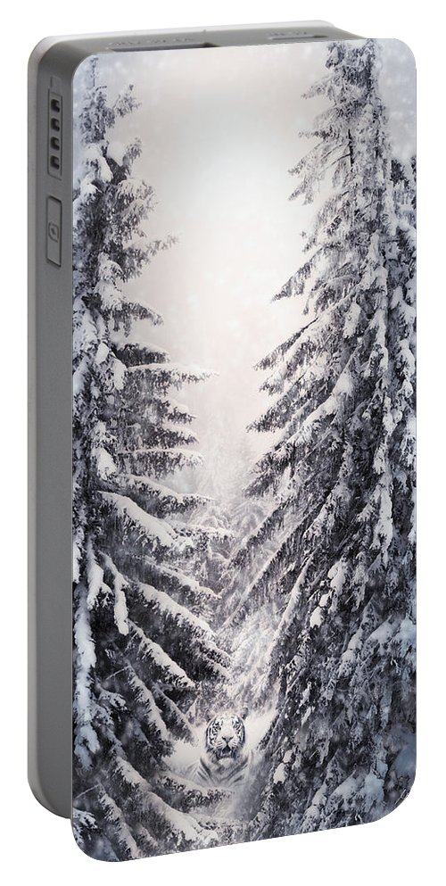 Beautiful Portable Battery Charger featuring the digital art Winter Light And Tiger by Svetlana Sewell