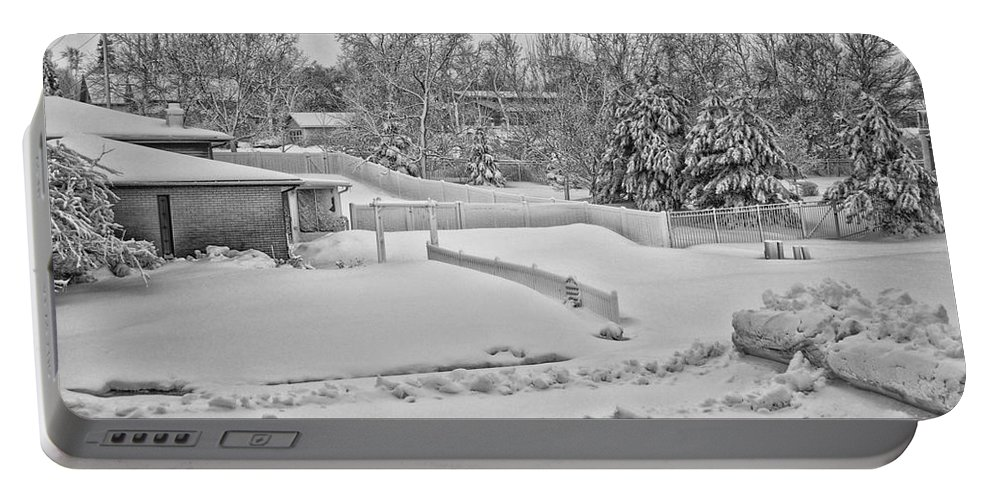 Snow Portable Battery Charger featuring the photograph Winter Lines Black And White by Thomas Woolworth