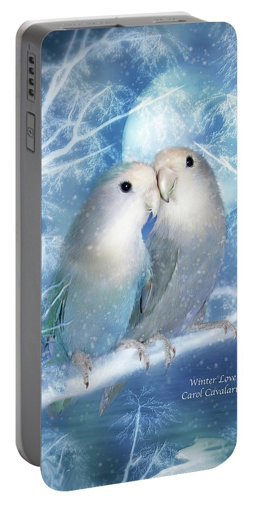 Lovebirds Portable Battery Charger featuring the mixed media Winter Love by Carol Cavalaris