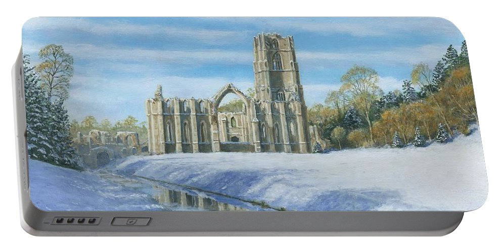 Landscape Portable Battery Charger featuring the painting Winter Morning Fountains Abbey Yorkshire by Richard Harpum