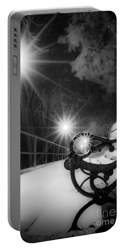 Winter Night Along The River Portable Battery Charger featuring the photograph Winter Night Along The River by Michael Arend