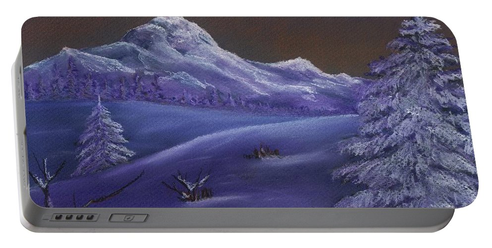 Calm Portable Battery Charger featuring the painting Winter Night by Anastasiya Malakhova
