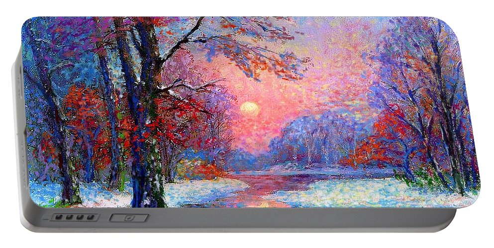 Woodland Portable Battery Charger featuring the painting Winter Nightfall, Snow Scene by Jane Small