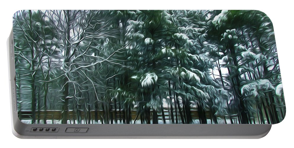 Background Portable Battery Charger featuring the painting Winter Pine Tree by Jeelan Clark