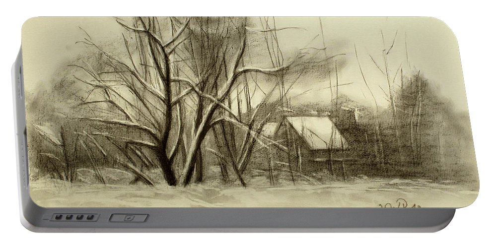Landscape Portable Battery Charger featuring the drawing Winter by Raimonda Jatkeviciute-Kasparaviciene