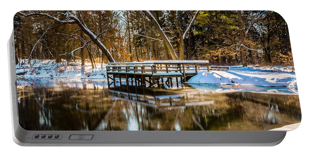 Paradise Springs Portable Battery Charger featuring the photograph Winter Reflections by Randy Scherkenbach