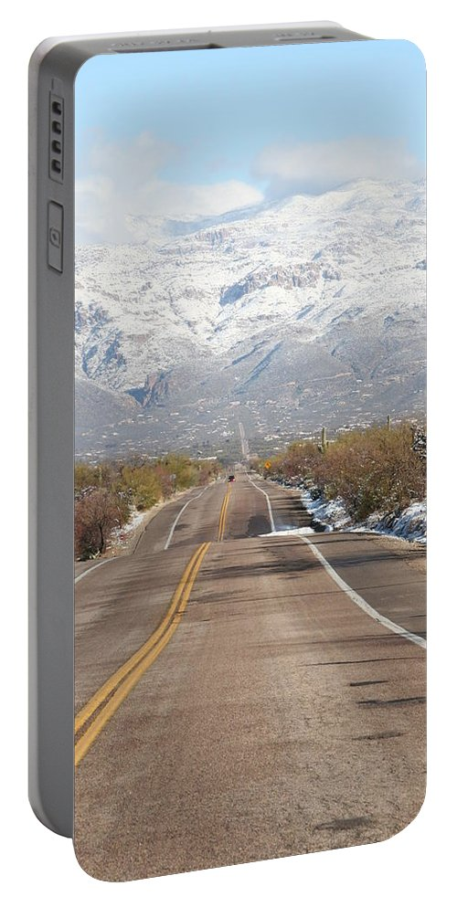 David S Reynolds Portable Battery Charger featuring the photograph Winter Road by David S Reynolds