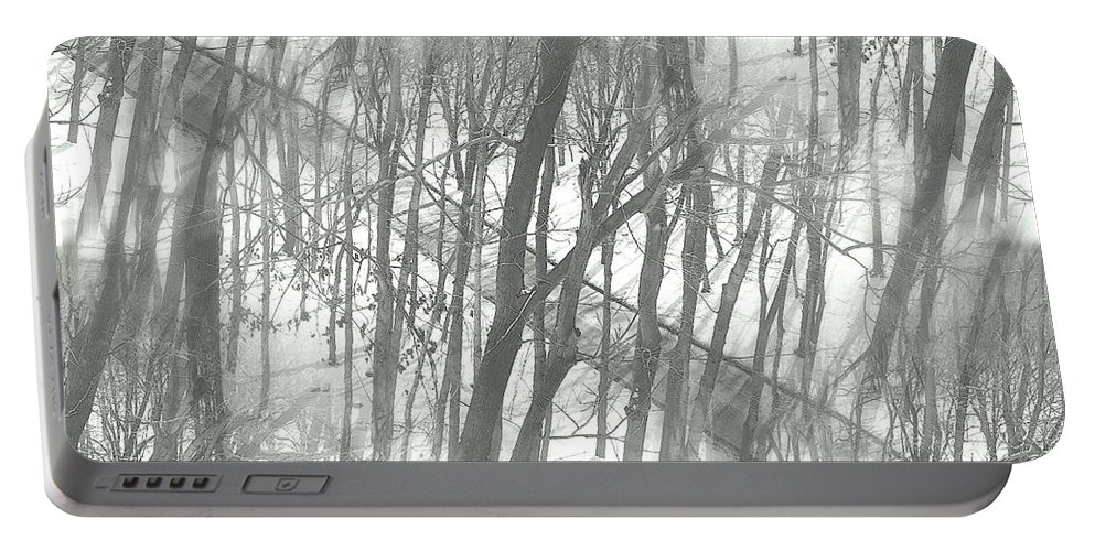 Winter Portable Battery Charger featuring the photograph Winter Road Dream by Valentino Visentini