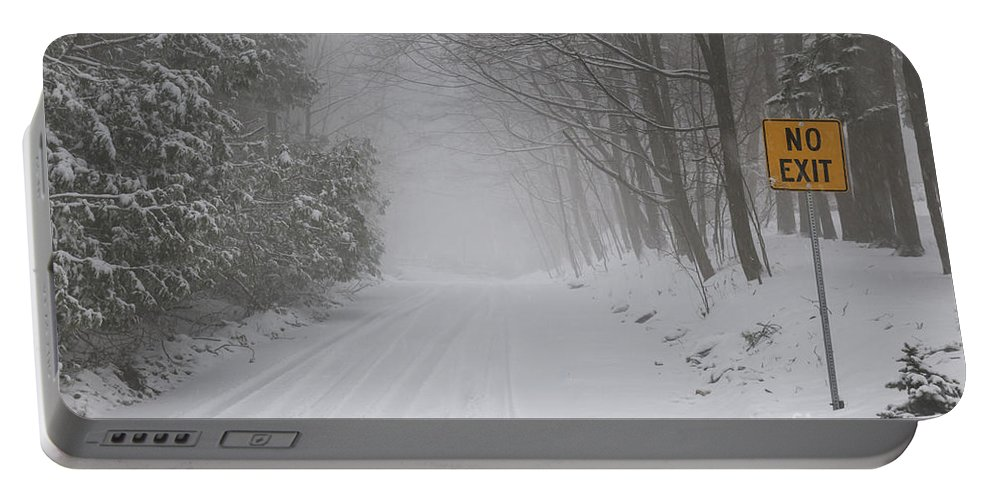 Winter Portable Battery Charger featuring the photograph Winter Road During Snow Storm by Elena Elisseeva