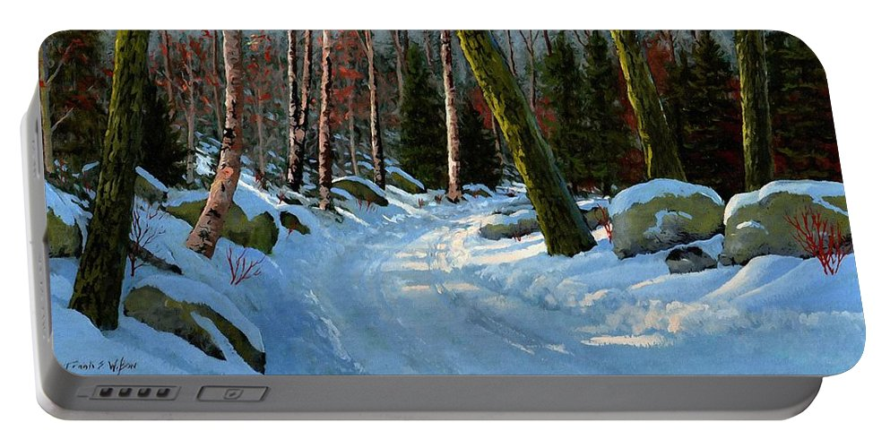 Landscape Portable Battery Charger featuring the painting Winter Road by Frank Wilson