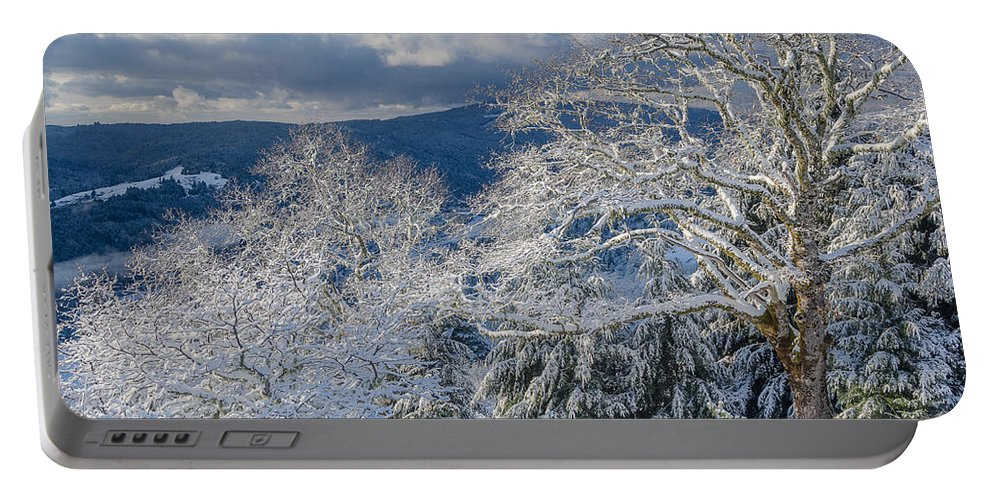 Dramatic Sky Portable Battery Charger featuring the photograph Winter Scene At Berry Summit by Greg Nyquist