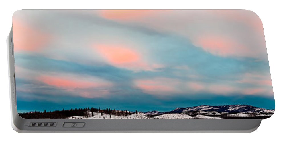 Blue Portable Battery Charger featuring the photograph Winter Sky Over Lake Laberge by Stephan Pietzko