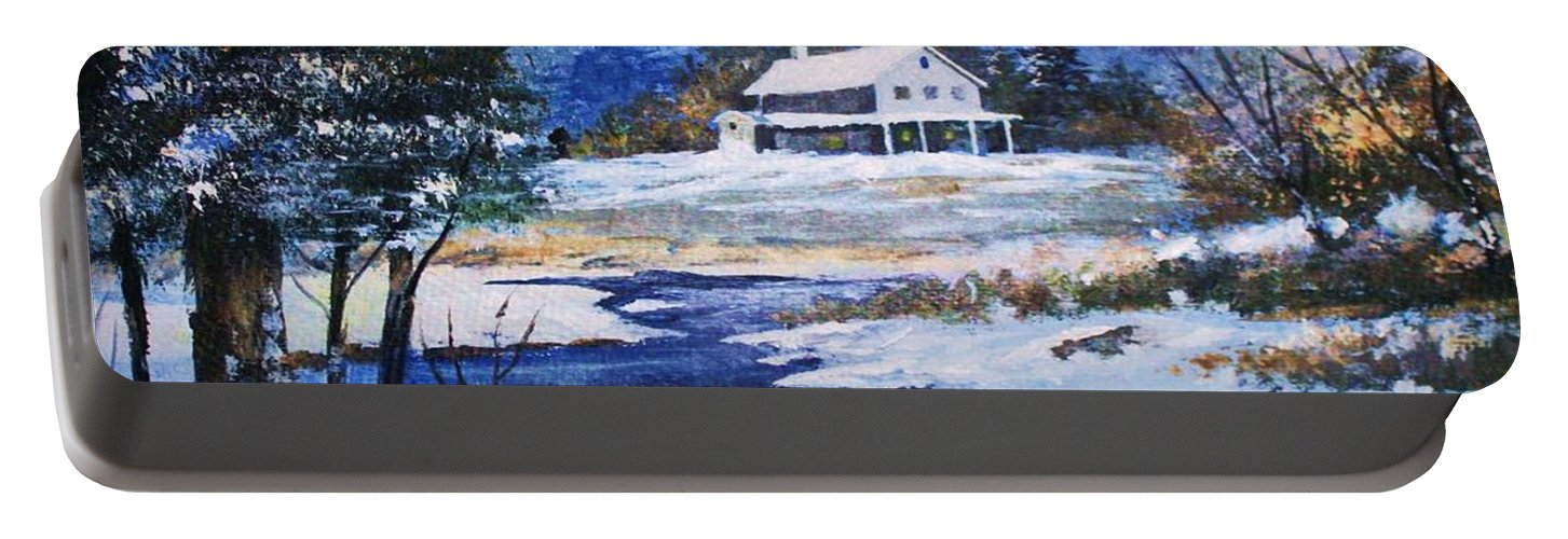 Landscapes Portable Battery Charger featuring the painting Winter Solitude by Al Brown