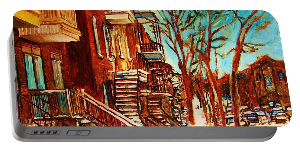 Verdun Paintings By Montreal Street Scene Artist Carole Spandau Portable Battery Charger featuring the painting Winter Staircase by Carole Spandau
