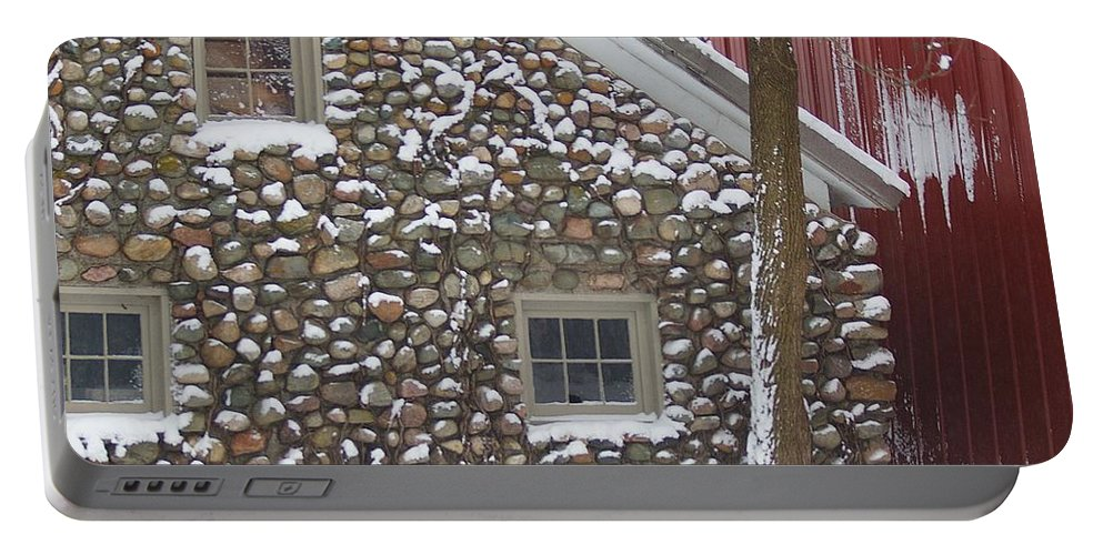 Winter Portable Battery Charger featuring the photograph Winter Stone Pattern by Randy Pollard