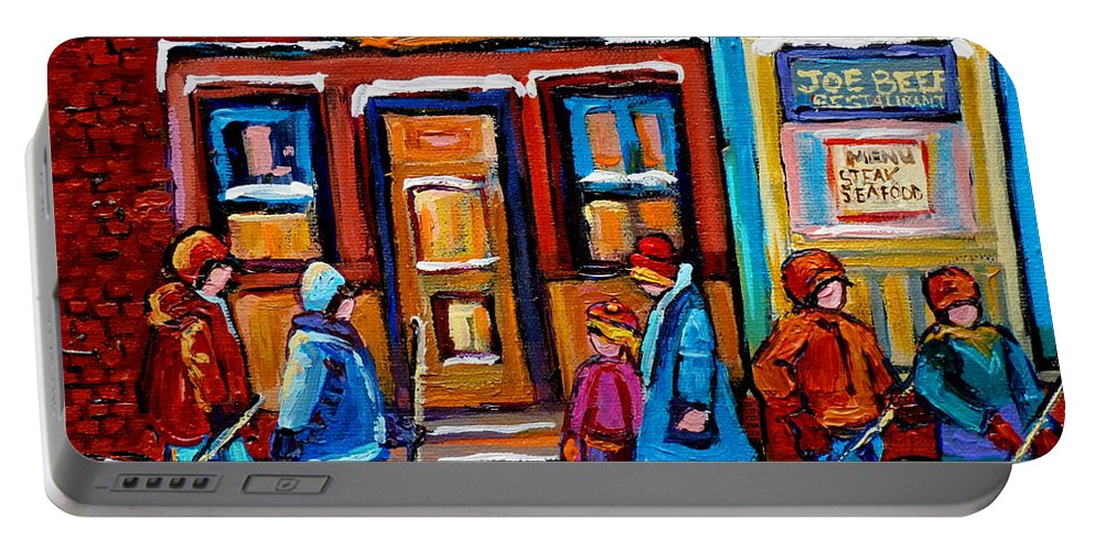 Montreal Portable Battery Charger featuring the painting Winter Street In Saint Henri by Carole Spandau
