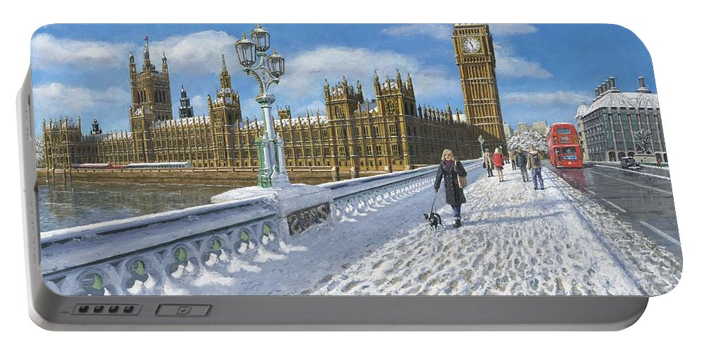 Landscape Portable Battery Charger featuring the painting Winter Sun - Houses Of Parliament London by Richard Harpum