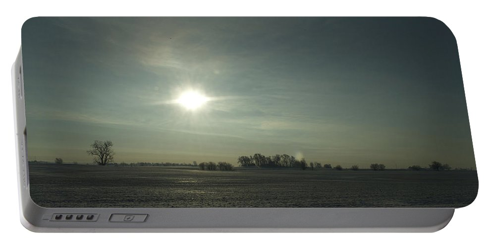Sunrise Portable Battery Charger featuring the photograph Winter Sunrise On The Corn Fields 02 by Thomas Woolworth