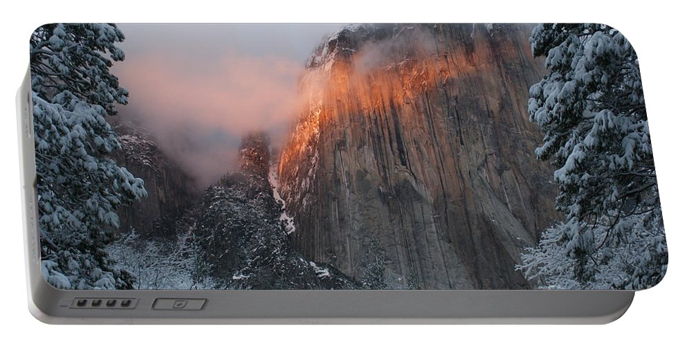 Yosemite Portable Battery Charger featuring the photograph Winter Sunset On El Capitan by Christine Jepsen