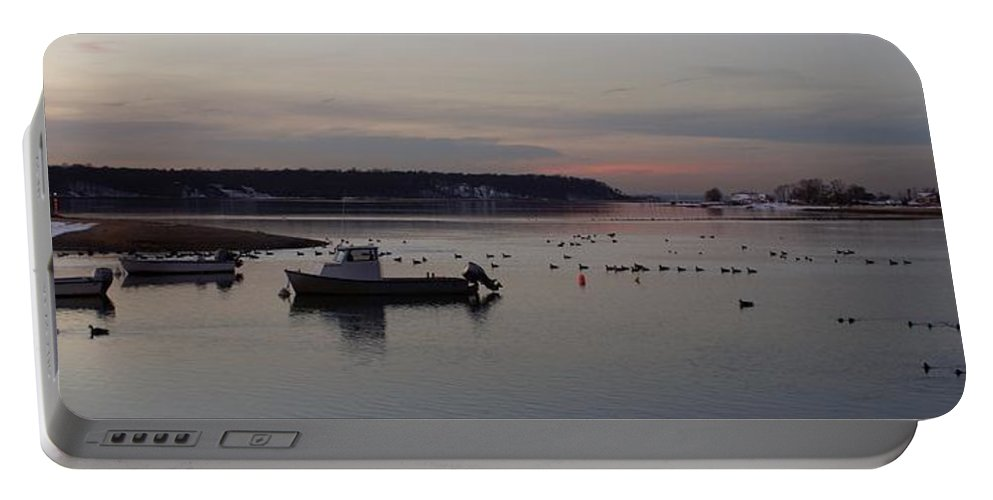Winter Portable Battery Charger featuring the photograph Winter Sunset On The Harbor by John Wall