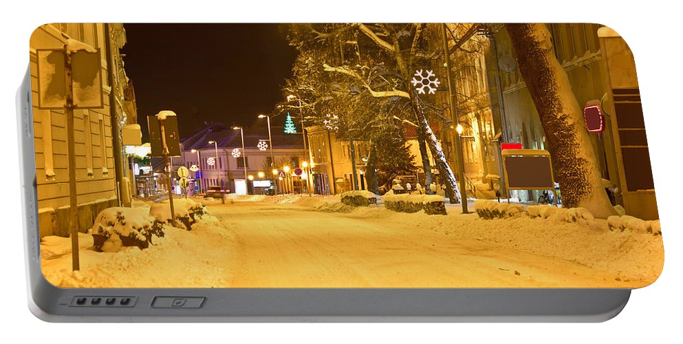 Christmas Portable Battery Charger featuring the photograph Winter Time Street Scene In Krizevci by Brch Photography