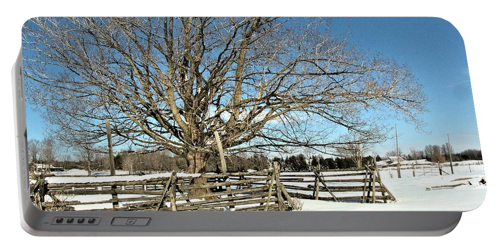 Landscape Portable Battery Charger featuring the photograph Winter Tree And Fence by Valerie Kirkwood