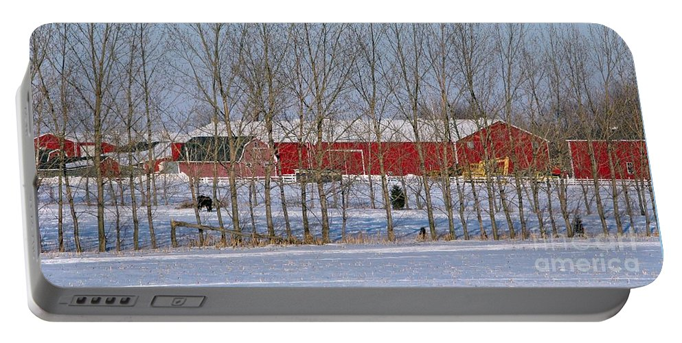 Winter Portable Battery Charger featuring the photograph Winter Tree Line by Ann Horn