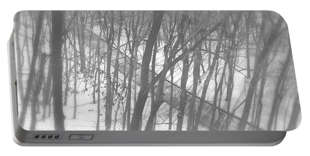 Winter Portable Battery Charger featuring the photograph Winter Urban Wood by Valentino Visentini