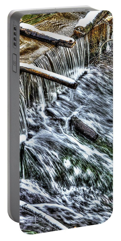 Sharp Portable Battery Charger featuring the photograph Winter Waterfall 2 by Nick Field