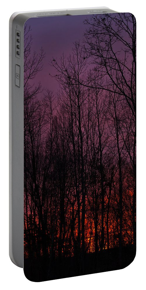 Sunset Portable Battery Charger featuring the photograph Winter Woods Sunset by Karol Livote