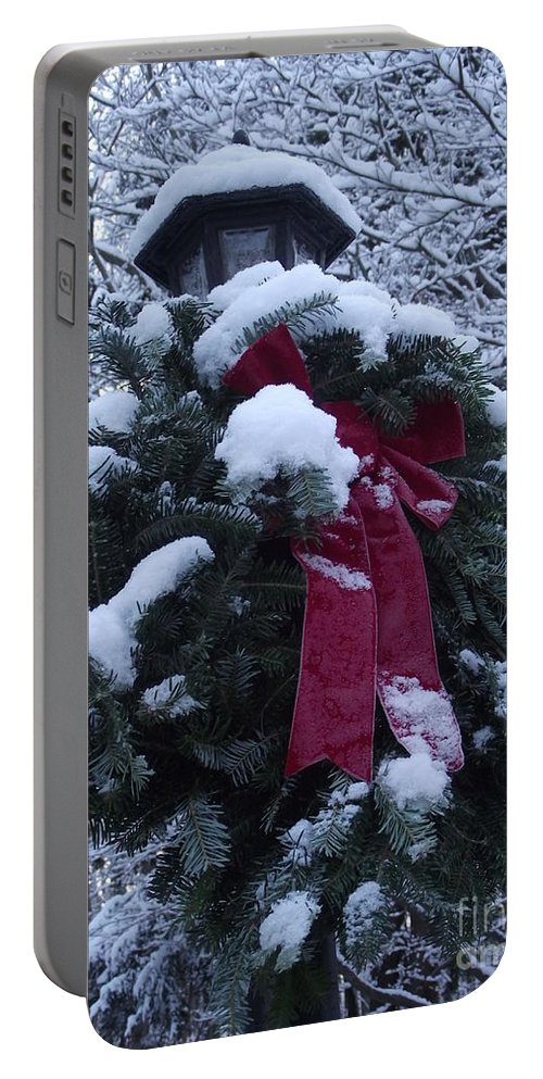 Snow Portable Battery Charger featuring the photograph Winter Wreath by Michelle Welles