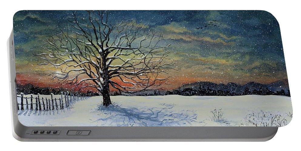Oak Tree Portable Battery Charger featuring the painting Winters Eve by Mary Palmer