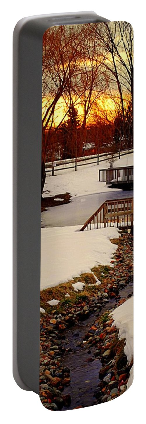 Winter Portable Battery Charger featuring the photograph Winters Exit by Frozen in Time Fine Art Photography