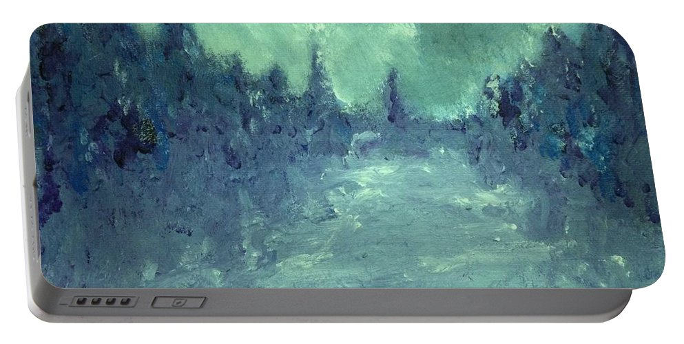 Acrylic. Mark Szwabo Portable Battery Charger featuring the painting Winters Fog by Mark Szwabo