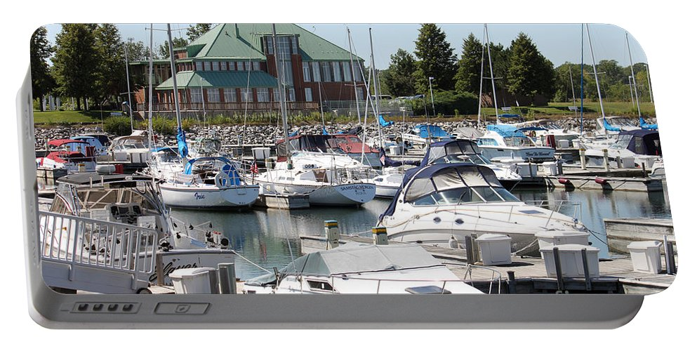 Boats Portable Battery Charger featuring the photograph Winthrop Harbor by Debbie Hart
