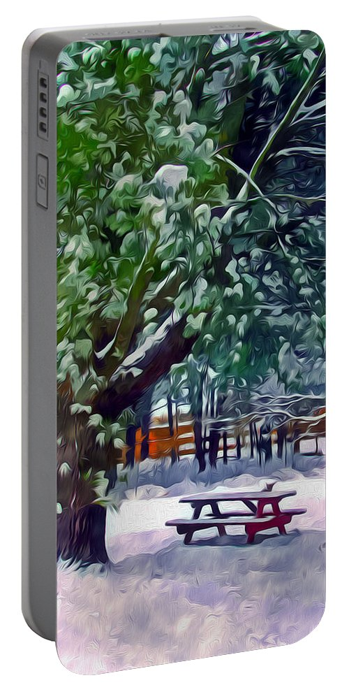 Background Portable Battery Charger featuring the painting Wintry Snowy Trees by Jeelan Clark