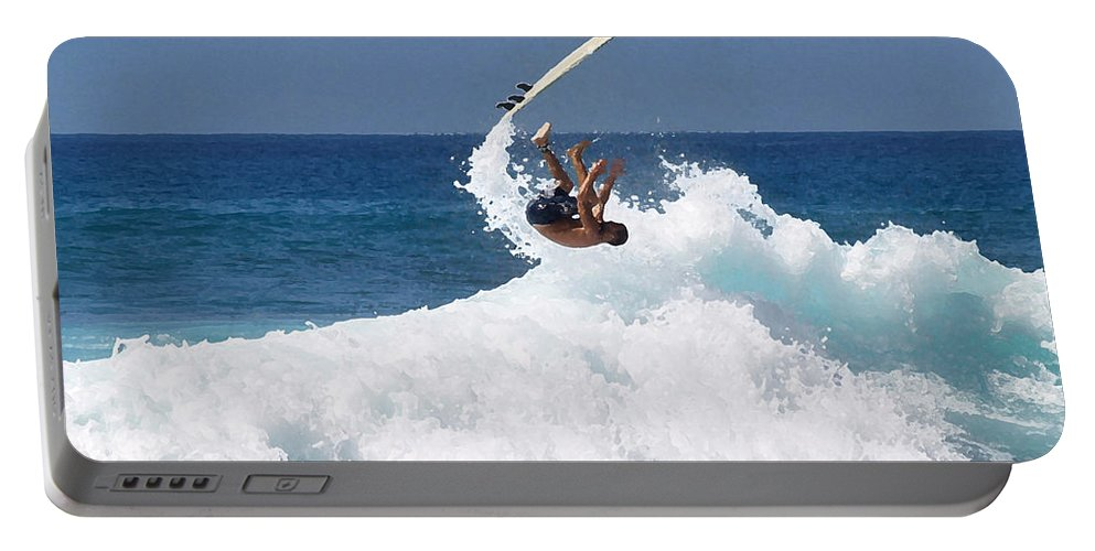 Surfing Portable Battery Charger featuring the photograph Wipe Out by Athala Carole Bruckner