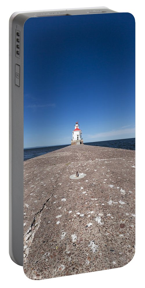 Lighthouse Portable Battery Charger featuring the photograph Wisconsin Point Lighthouse 6 B by John Brueske