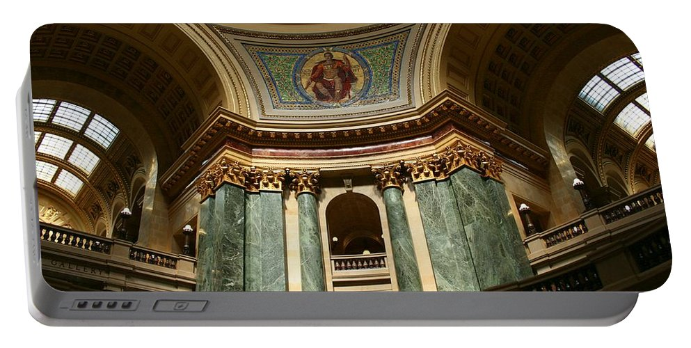 Architecture Portable Battery Charger featuring the photograph Wisconsin State Capital Building 1 by Susan McMenamin
