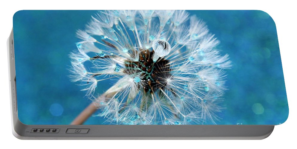 Dandelion Portable Battery Charger featuring the photograph Wish Come True by Krissy Katsimbras