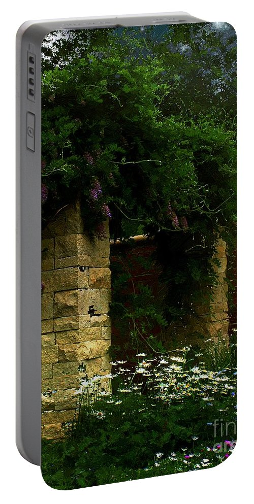 Arch Portable Battery Charger featuring the painting Wisteria In Moonlight by RC DeWinter
