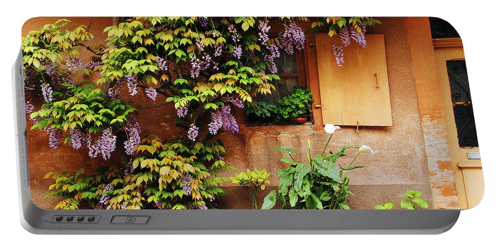 Wisteria Portable Battery Charger featuring the photograph Wisteria On Home In Zellenberg France by Greg Matchick
