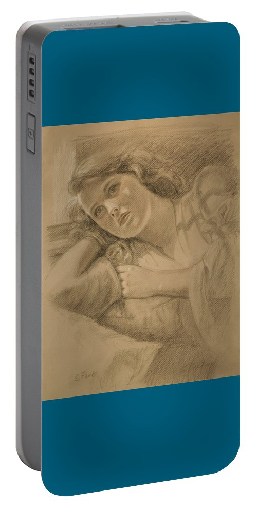 Drawing Portable Battery Charger featuring the drawing Wistful - Drawing by Sarah Parks